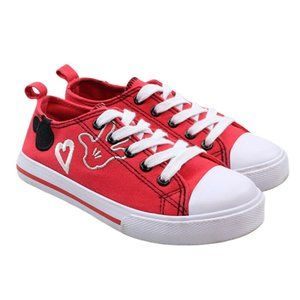 DISNEY Mickey Mouse Girls Red Canvas Sneakers
